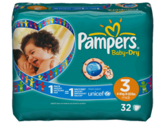 Pampers baby dry 4/9kg change x32 taille 3