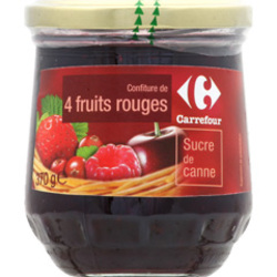 Confiture de 4 fruits rouges au sucre de canne