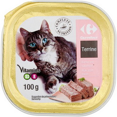 Aliment complet pour chat, terrine riche en saumon