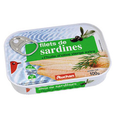 Auchan filets sardines a l'huile d'olive vierge extra 100g