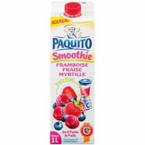 Smoothie, jus et puree de fruits mixes, framboise, fraise, myrtille, la brique, 1l