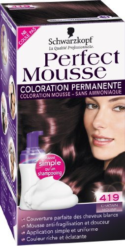 Coloration permanente sans ammoniaque PERFECT MOUSSE, chatain violine n°419