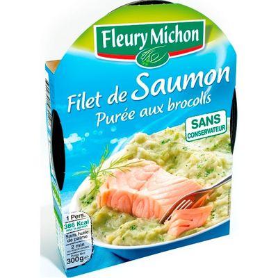 filet de saumon d 39 atlantique et puree de brocolis fleury michon 300g tous les produits plats. Black Bedroom Furniture Sets. Home Design Ideas