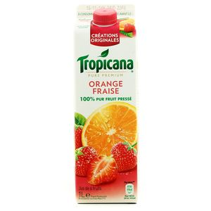 Tropicana, Pure Premium - Jus orange fraise 100% pur fruit pressé, la brique de 1 l
