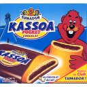 Kassoa pocket chocolat, barres biscuitees fourrees avec talon de chocolat au lait x6, le paquet, 125g