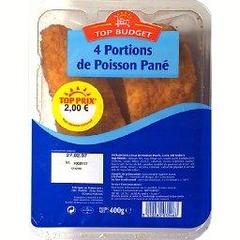 Portions de poisson pane x4, la barquette,400g