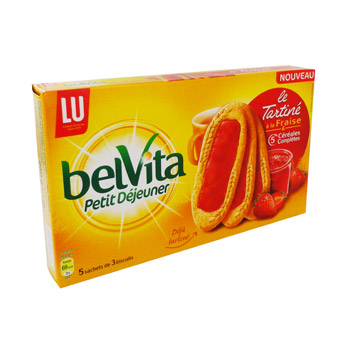 Belvita - Biscuits cereales nappes a la Fraise - 5 sachets
