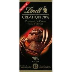 Chocolat noir 70% aux eclats de feves de cacao Creation LINDT, 150g