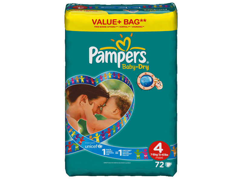 Couche Baby-Dry maxi taille 4 (7-18kg) Pampers value + bag x72