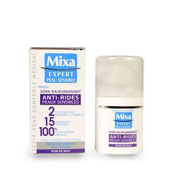 creme anti age de nuit pour peaux sensibles mixa 50ml tous les produits soins visage prixing. Black Bedroom Furniture Sets. Home Design Ideas