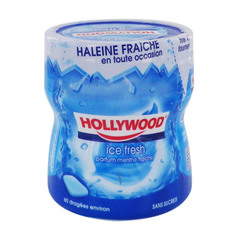 Chewing gum sans sucres ice fresh HOLLYWOOD, boîte de 87g