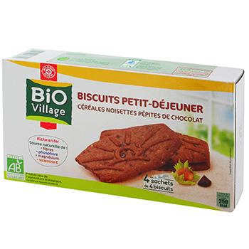 biscuits petit dej bio village cereales noisettes 4x4. Black Bedroom Furniture Sets. Home Design Ideas