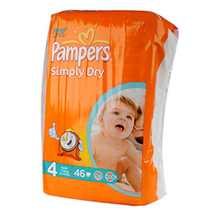 Couches Pampers Simply Dry Geant T4 7-18kg x46