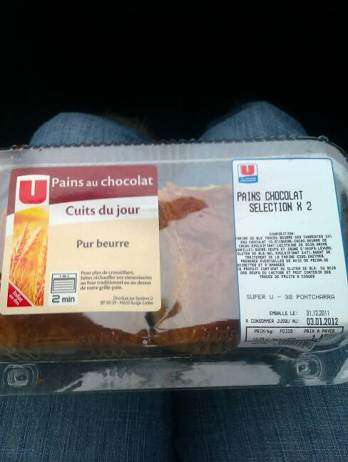 Pains au chocolat pur beurre U, 2 pieces, 110g