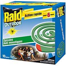 spirales anti moustiques exterieures raid 10 unites tous les produits insecticides prixing. Black Bedroom Furniture Sets. Home Design Ideas