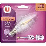 Deco led U, flamme, 25W, E14 C