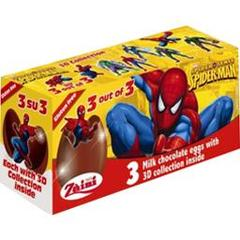 Oeufs surprises Spider Man  en chocolat au lait, 3 pieces