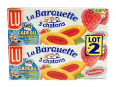 Lu Barquette 3 chatons framboise 2x120g