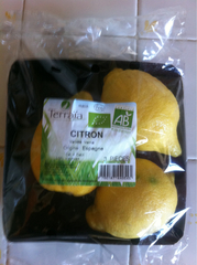 Citrons fino bio TERRAIA, 4 fruits, 500g