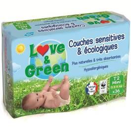couches ecologiques love green taille 2 3 a 5 kg 36 unites tous les produits couches t 1. Black Bedroom Furniture Sets. Home Design Ideas