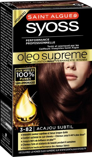 Saint Algue-Syoss, Oleo Supreme - Coloration permanente acajou subtil 3-82, la boite de 115 ml