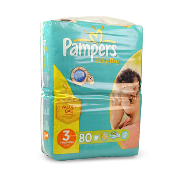 Couches baby dry midi taille 3 4 9kg pampers value bag - Prix couches pampers baby dry taille 4 ...