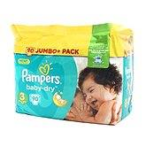 Couches baby dry jumbo + taille 3 PAMPERS, 90 unités