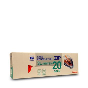 auchan sac congelation a zip modele moyen 3l x20 tous les produits emballages alimentaires. Black Bedroom Furniture Sets. Home Design Ideas