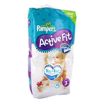 Pampers active fit geant midi 4/9 kg x60 taille 3