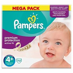 Pampers Couches Active Fit, taille 4 + : 9-20 kg le carton de 72 -