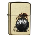 Zippo briquet 60.000.649 eight ball avec spider spring 2015 (or)