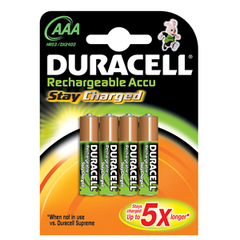 4 piles rechargeables HR3 Stay Charge Duracell