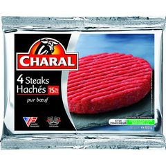 Steak hache 15% de MG CHARAL, 4 pieces, 400g