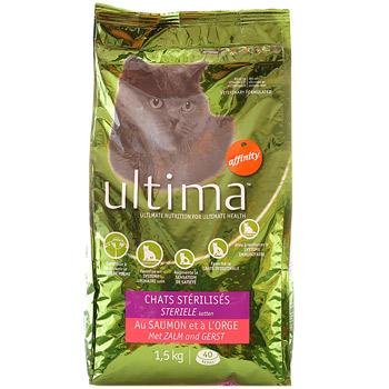 croquettes pour chat sterilise au saumon ultima 1 5kg tous les produits croquettes prixing. Black Bedroom Furniture Sets. Home Design Ideas