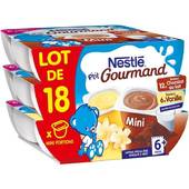 p'tit gourmand mini portions chocolat au lait / vanille nestle 18x60g