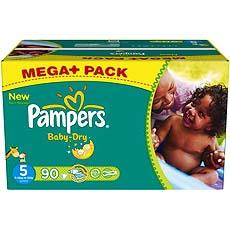 Couches Baby Dry mega + PAMPERS, taille 5, 11 a 25kg, 90 unites