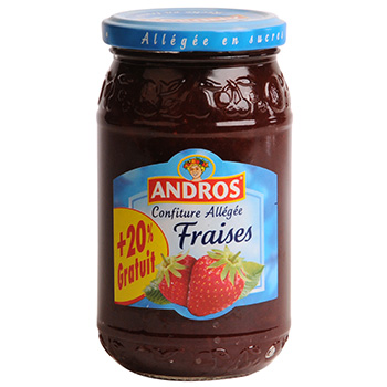 Confiture allegee fraise andros 350g