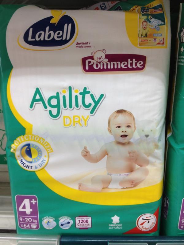 Pommette Couches Agility Dry Taille 4 9 20 Kg Le Paquet De 64