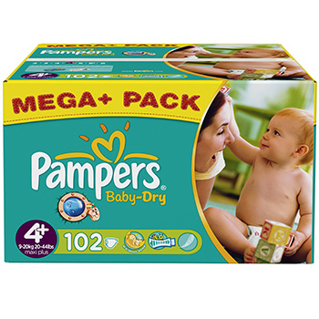 Couches Pampers Baby Dry, T4+ 9-20kg x102 Budget box
