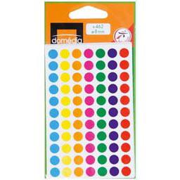 Pastilles adhesives diametre 8mm, 7 couleurs assorties, les 462 pastilles