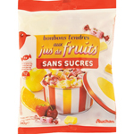 Auchan bonbons aux fruits tendres sans sucre 140g