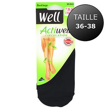 Mi-bas circulation Actiwell WELL, taille 36/38, noir