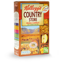 Country Store - Muesli aux cereales completes et aux fruits Mais, avoine, ble. Sans colorant. Sans arome artificiel.
