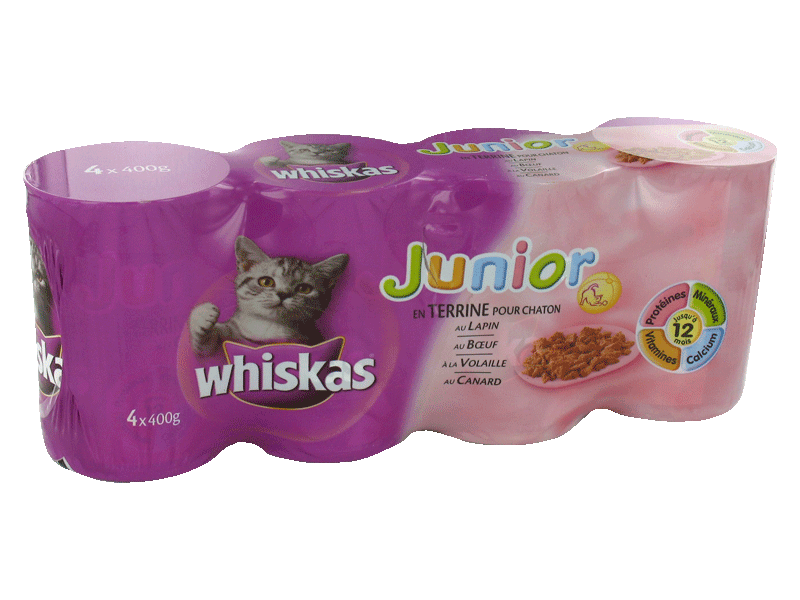 Whiskas croquettes canard volaille boeuf lapin 4x400g