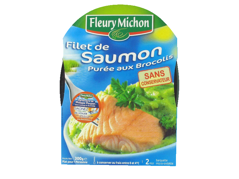 Filet de saumon d'Atlantique et puree de brocolis FLEURY MICHON, 300g