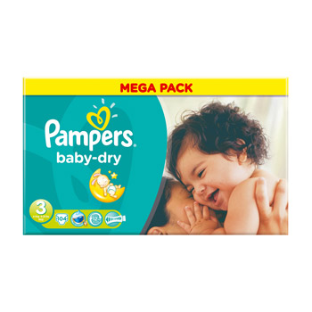 Pampers, Couches baby dry, taille 3 : 4-9 kg, le carton de 104