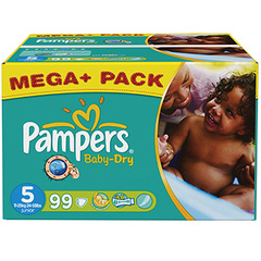 Couches Baby Dry mega + PAMPERS, taille 5, 11 a 25kg, 99 unites