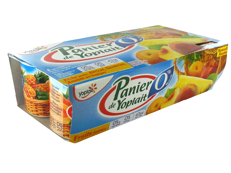 Panier de Yoplait 0% aux fruits jaunes x8