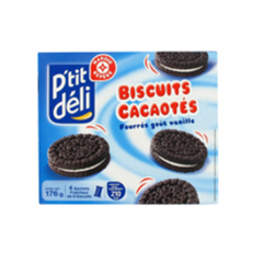 Biscuits cacaotes P'tit Deli Fourres vanille 176g