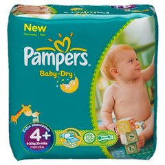 Pampers - Baby Dry - Couches Taille 4 + (9-18 kg/Maxi + ) - Pack Economique 1 mois de consommation (x152 couches)